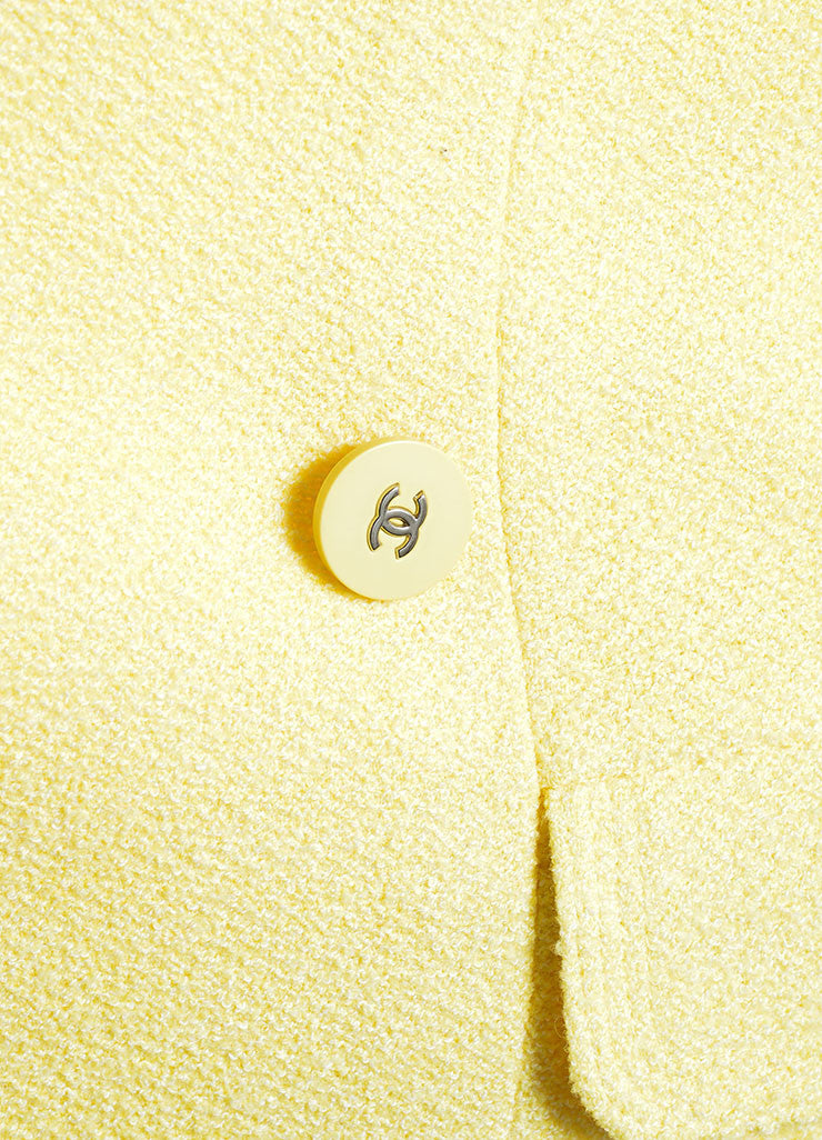"Chanel Yellow Wool and Cotton ""CC"" Double Breasted Blazer Detail"