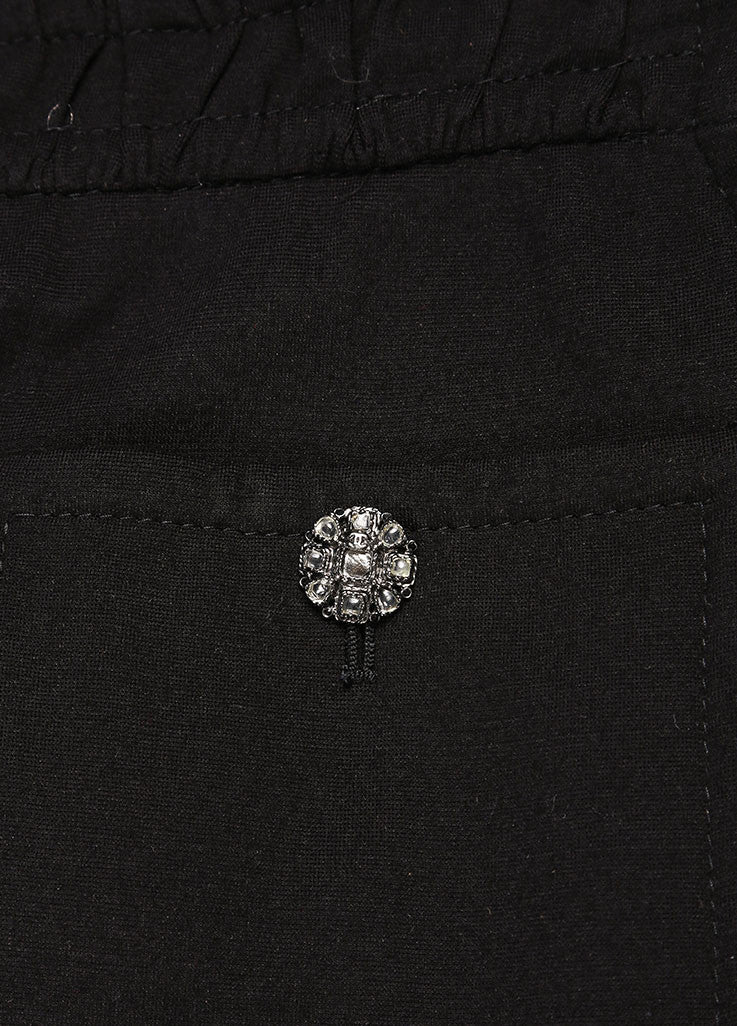 Chanel Black Wide Leg Gripoix Embellished Stretch Pants Detail