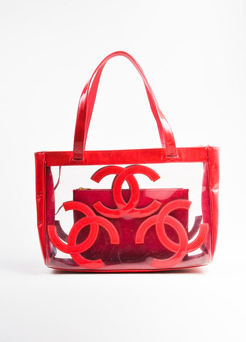 Chanel Dark Pink Patent Leather and PVC 'CC' Logo Beach Tote with Pouch Frontview