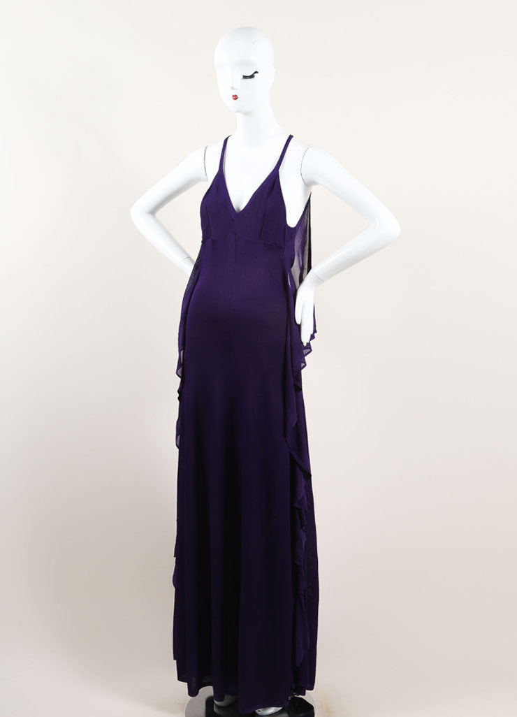 Chanel Purple Woven Knit Ruffle Draped Full Length Halter Dress Sideview