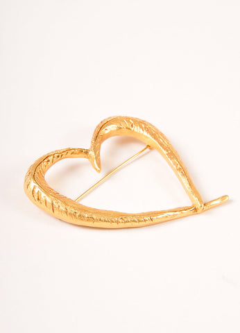Christian Lacroix Gold Toned Textured Open Heart Pin Sideview