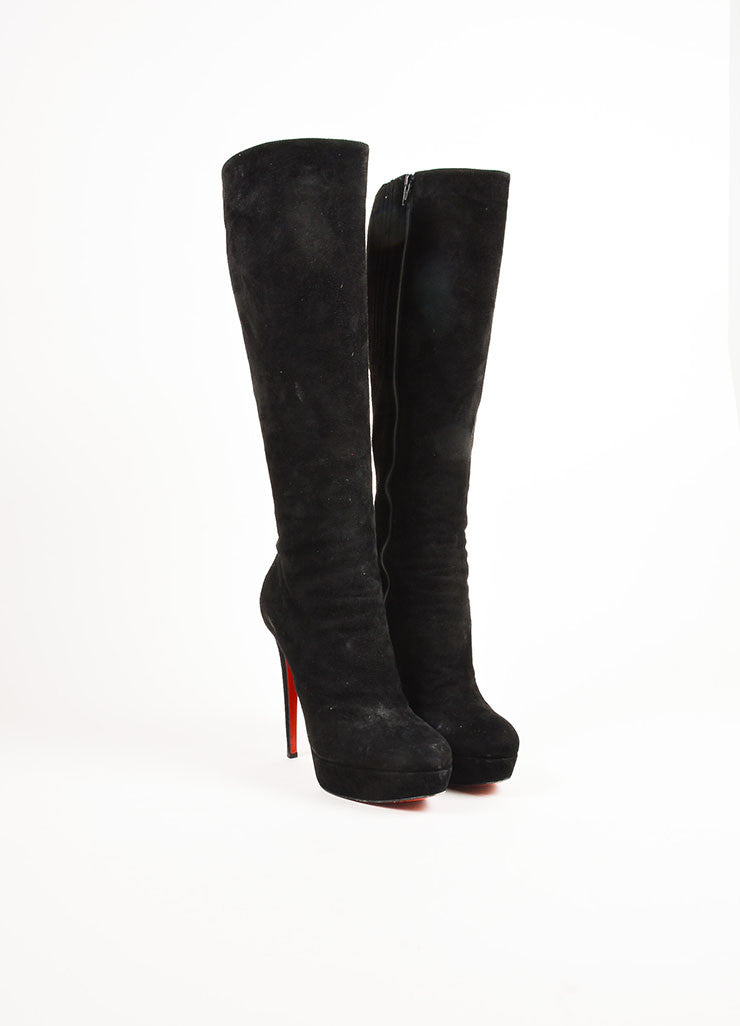 "Christian Louboutin Black Suede High Heel ""Bianca Botta 140"" Tall Boots Frontview"