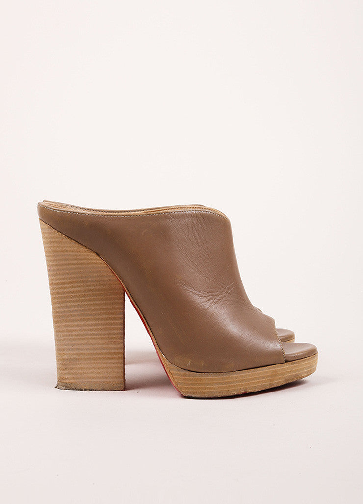 Christian Louboutin Taupe and Ash Brown Peep Toe Stacked Heel Leather Mules Sideview