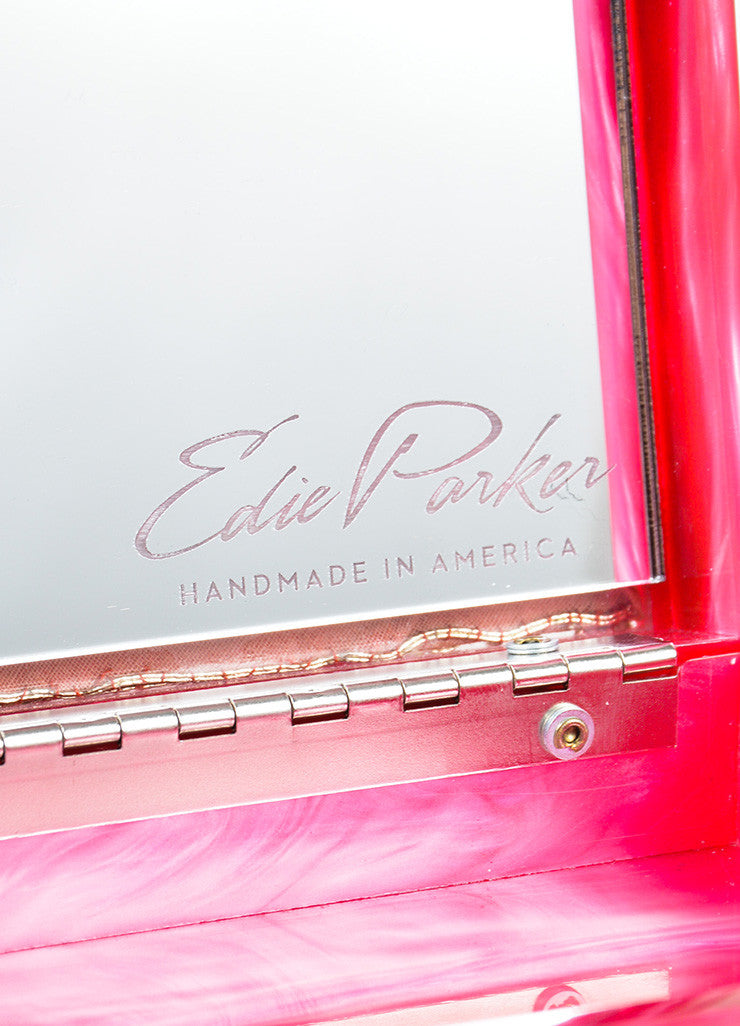 Edie Parker Pink, Gold, and Red Acrylic Embroidered Marble Mirrored Box Clutch Bag Brand