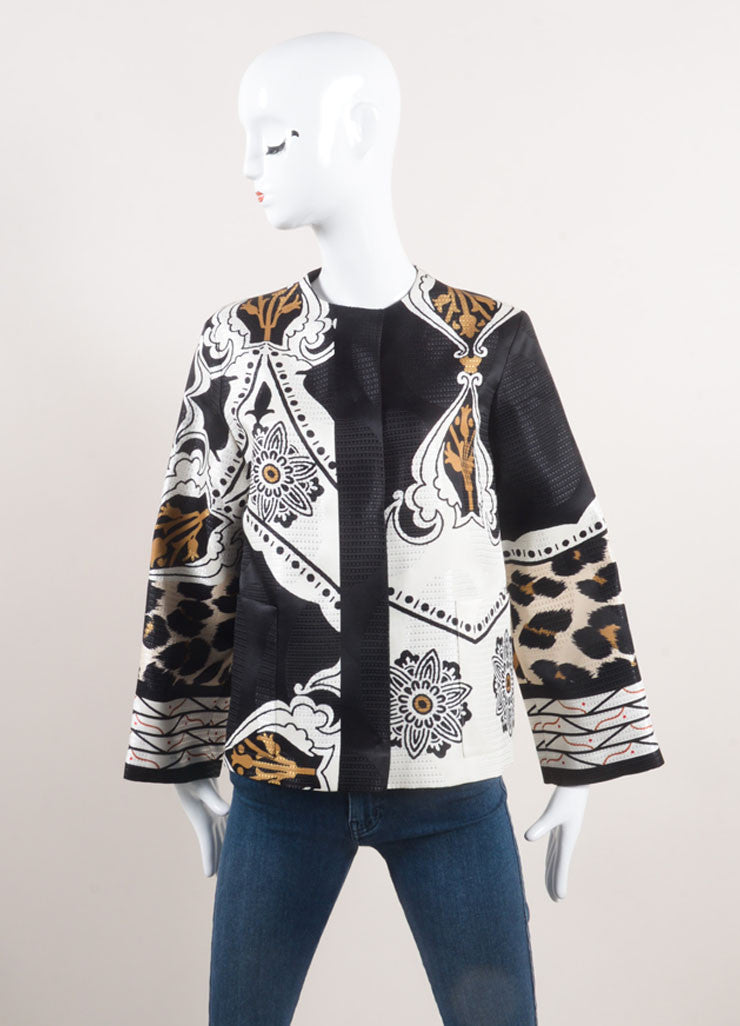 Etro New With Tags Black, White, and Brown Woven Wool and Silk Blend Printed Jacket Frontview