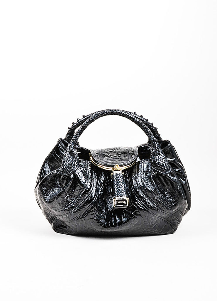 "Black Fendi Patent Leather Embossed ""Spy"" Satchel Bag Frontview"
