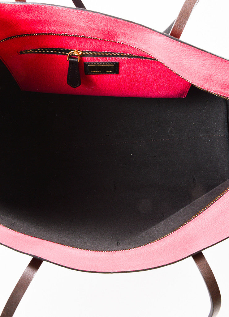 "Fendi Pink and Brown Coated Canvas ""Zucca"" Monogram Ombre Tote Bag Interior"