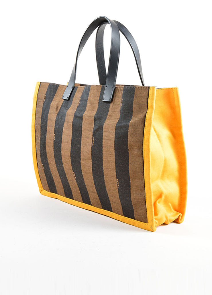 "Fendi Brown and Yellow Canvas Striped ""Pequin"" Small Shopping Tote Bag Sideview"