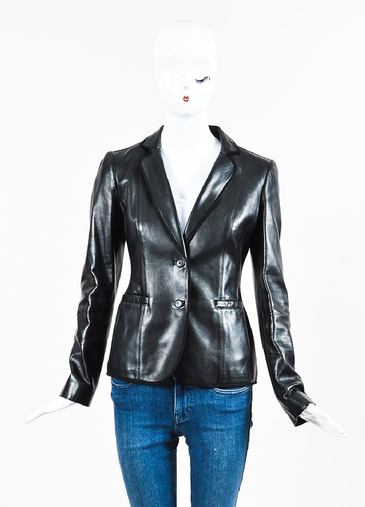 Gucci Black Leather & Suede Trimmed Dual Button Jacket Front 2