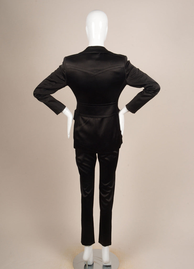 Gucci Black Satin Longline Jacket and Straight Leg Trouser Pant Suit Backview