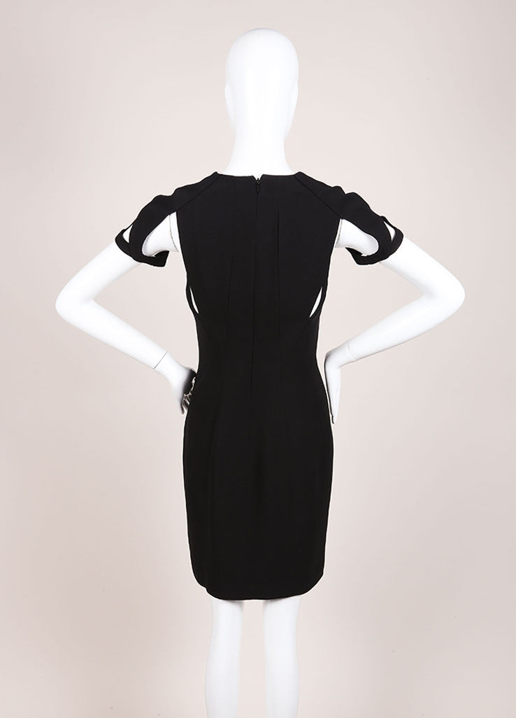 Gucci Black Silk Knit Cut Out Detail Short Sleeve Sheath Dress Backview