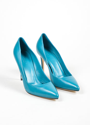 "Cobalt Blue Gucci Leather Pointed Toe ""Brooke 95mm"" Pumps Front"
