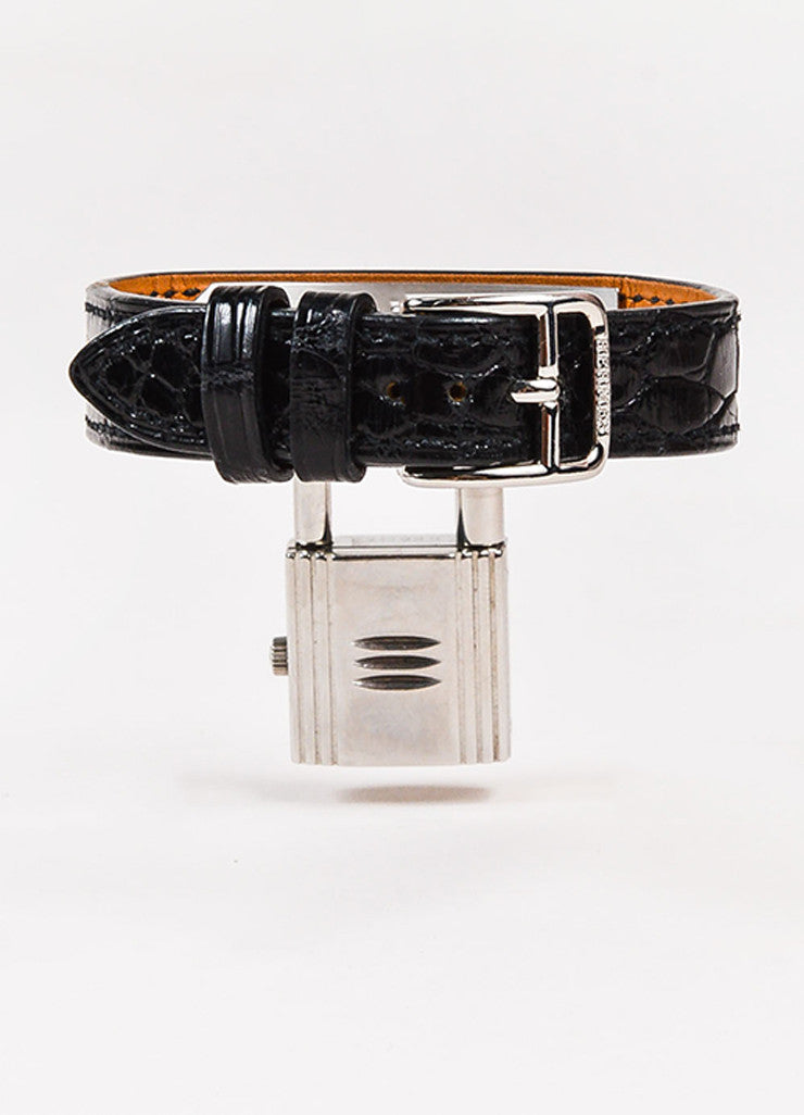 "Hermes Black Alligator Leather Quartz and Stainless Steel Padlock ""Kelly"" Watch Backview"