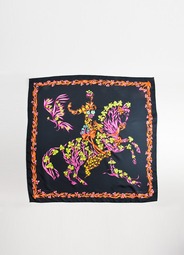 "Hermes Black and Multicolor Silk Neiman Marcus Ltd. Edition ""Cheval Fleuri"" Scarf Frontview"