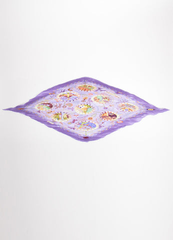 "Hermes Lavender and Multicolor Silk Pleated ""Escales Mediterraneennes"" Plisse Scarf Frontview"