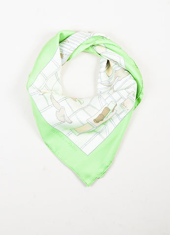 "Hermes Light Green and Cream Silk Printed ""Les Toits de Paris"" Scarf Frontview"