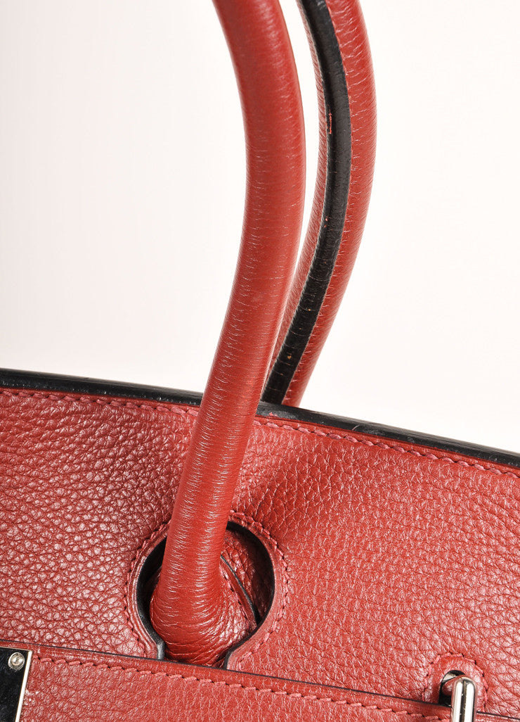 "Hermes Red ""Rouge H"" and Silver Toned Clemence Leather 42cm Shoulder Birkin Bag Detail 2"