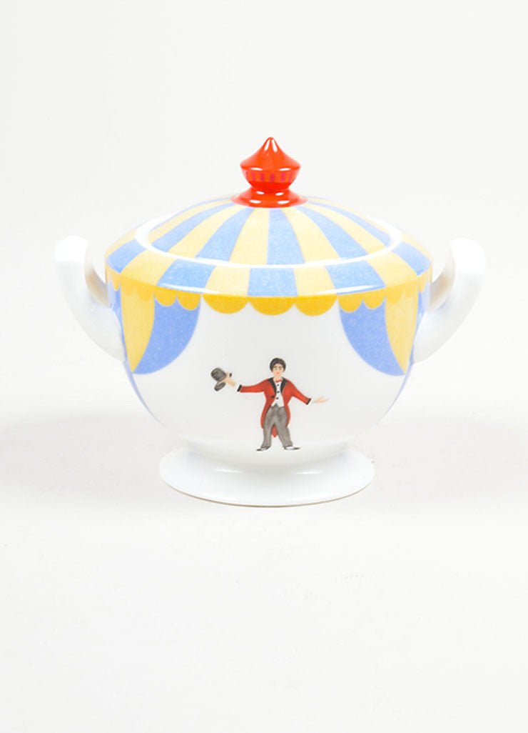 "White, Yellow and Blue Hermes Porcelain ""Le Chapiteau"" Circus Print Sugar Bowl Front"