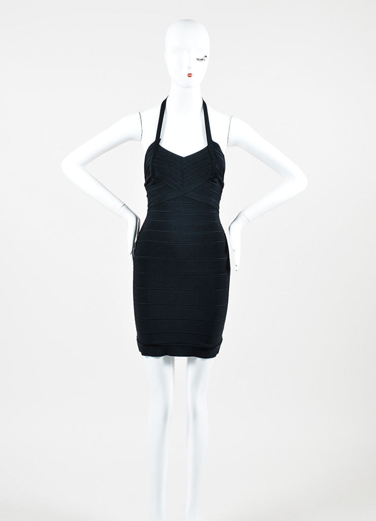 Black Herve Leger Stretch Knit Sleeveless Halter Bandage Bodycon Dress Frontview