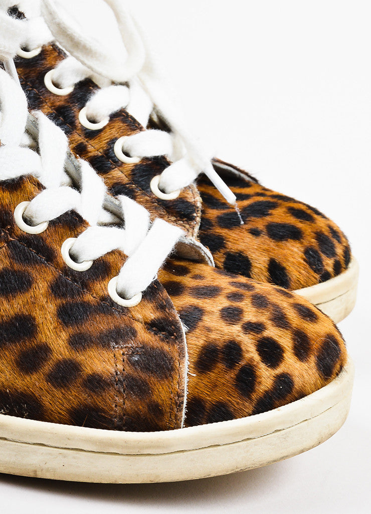 Brown and Tan Isabel Marant Etoile Leopard Print Pony Hair Sneakers Detail