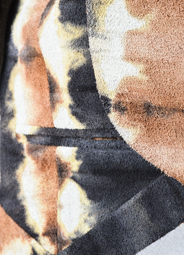 Kelly Wearstler Brown, Cream, and Black Suede Leather Tie Dye Jacket Detail