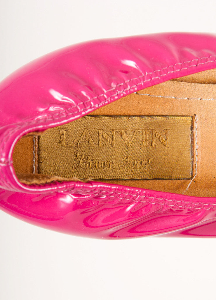 Lanvin Hot Pink Patent Leather Square Toe Ballerina Wedges Brand