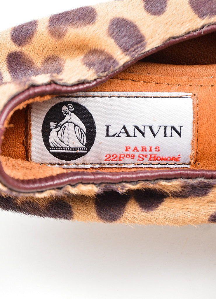 Tan and Brown Lanvin Pony Hair Leopard Round Toe Ballerina Flats Brand