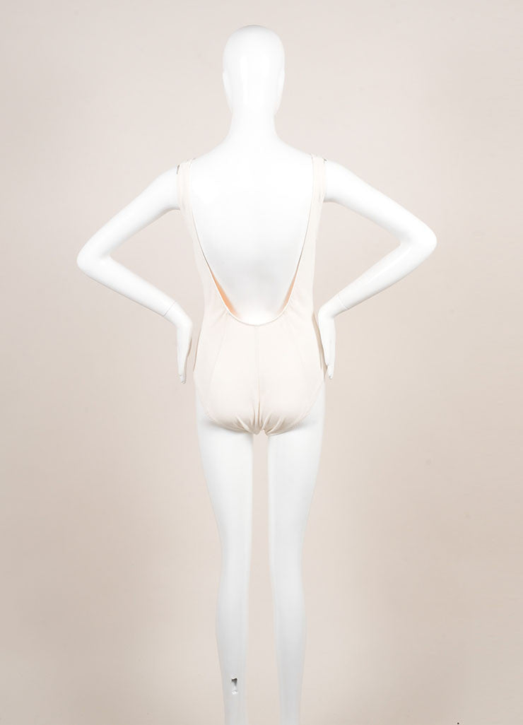 "Lisa Marie Ferndanez New With Tags Cream and Black Zip ""Jasmine"" Maillot Swimsuit Backview"