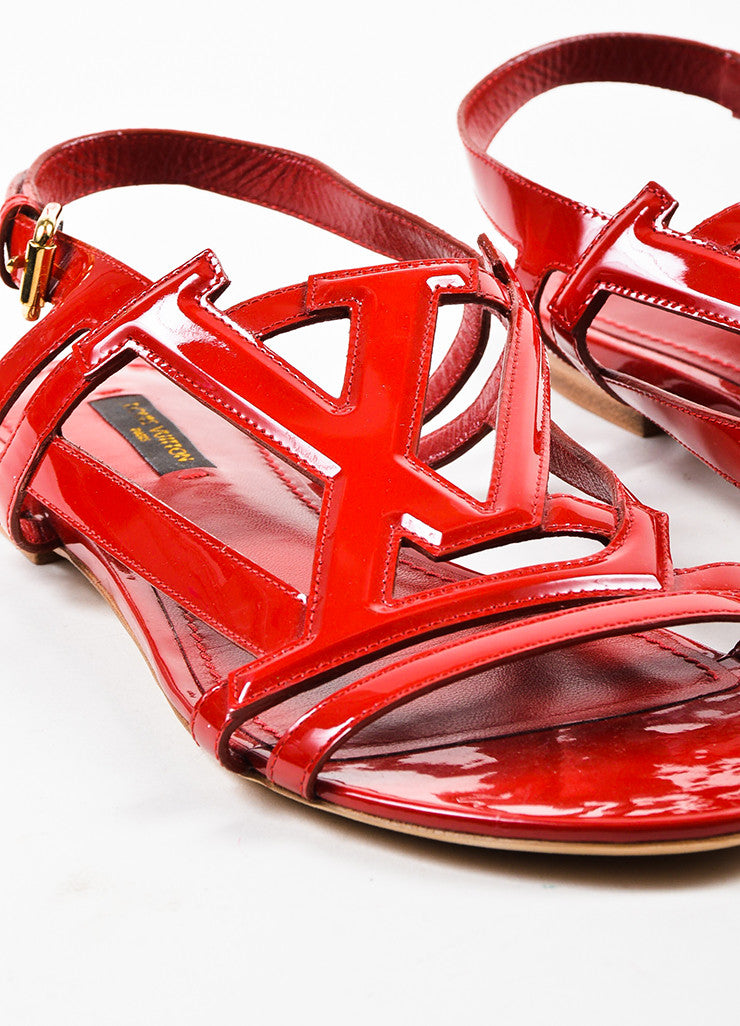 Louis Vuitton Red Patent Leather 'LV' Strappy Slingback Flat Sandals Detail