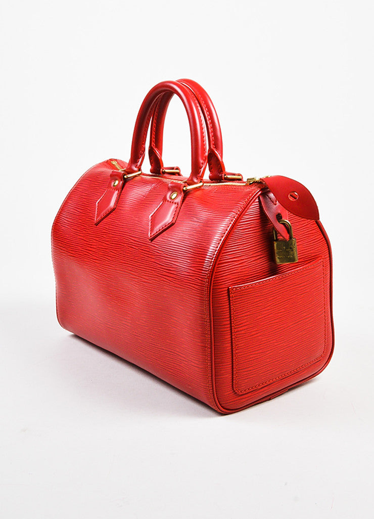 "Louis Vuitton Red Epi Leather ""Speedy 25"" Handbag Sideview"