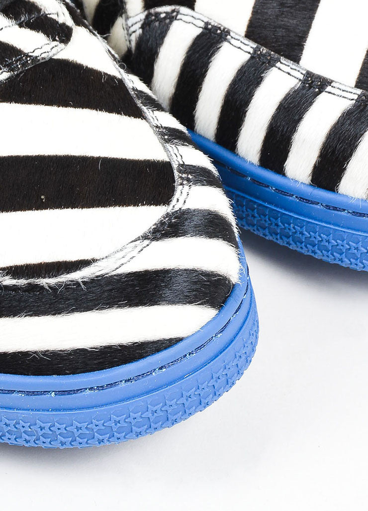 "MEN'S Gucci Blue Zebra Stripe Pony Hair ""Coda"" High Top Sneakers Detail"