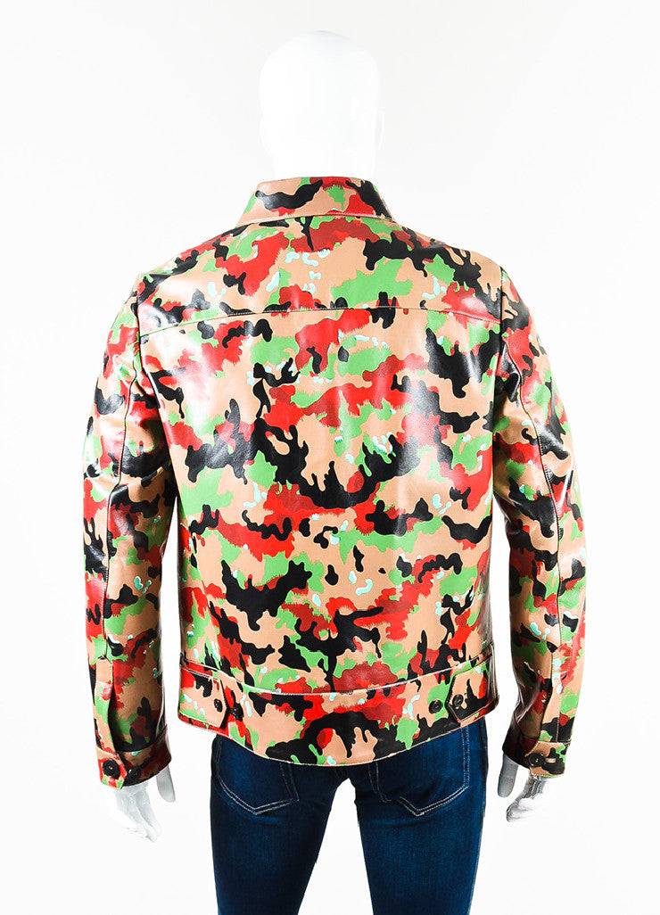 Men's Valentino Red and Tan Camouflage Printed Leather Zip Up Jacket Backview