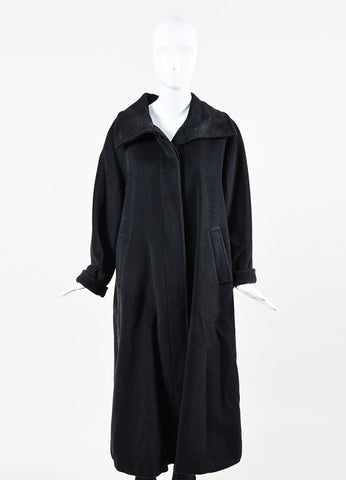 Black Max Mara Wool Long Rolled Cuff Coat