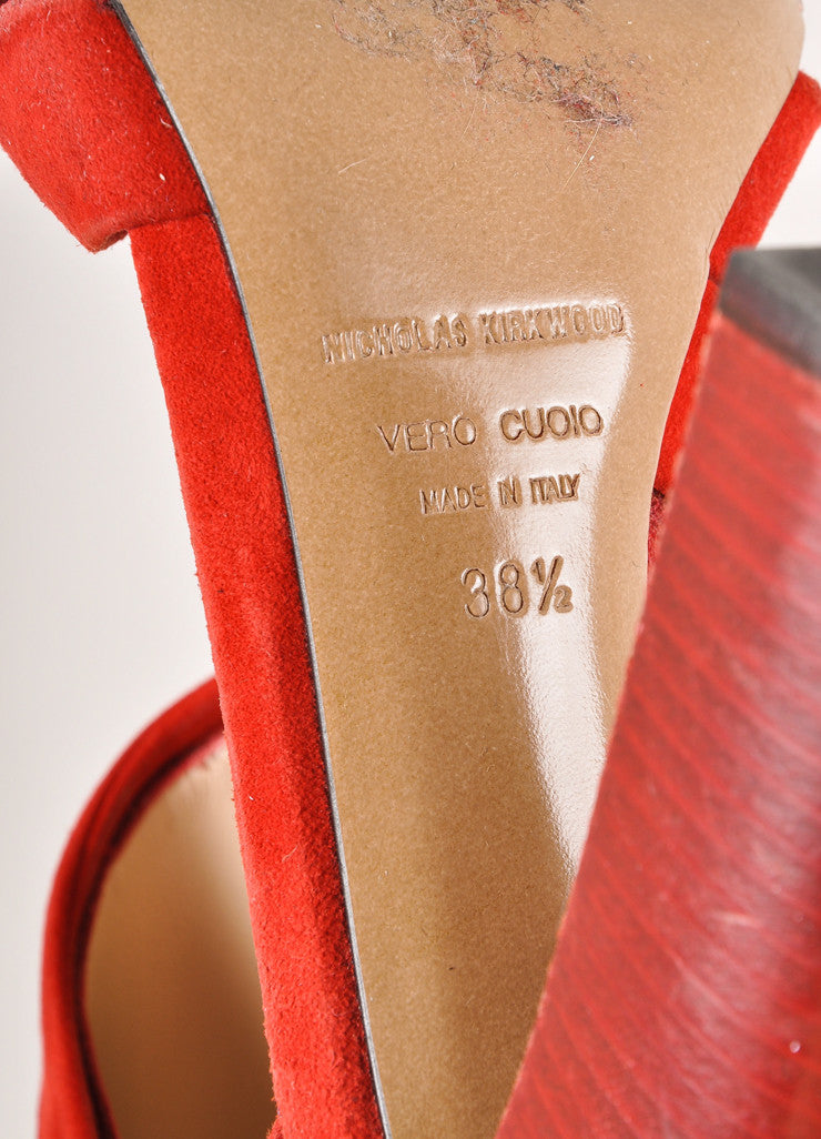 Nicholas Kirkwood for Erdem Red Suede and Lace Stacked Heel Sandals Brand