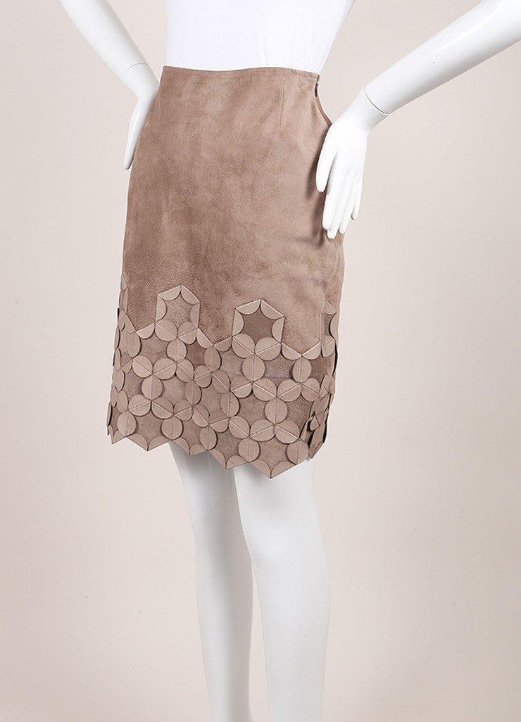 Oscar de la Renta Taupe Suede Origami Applique Straight Skirt Sideview