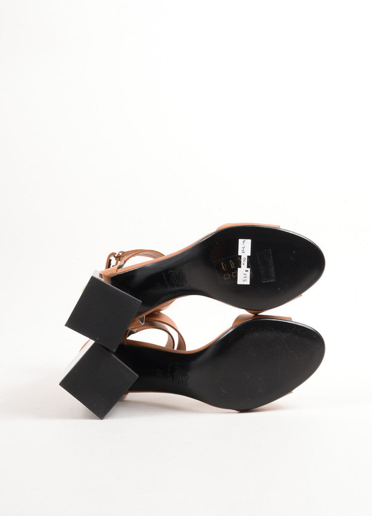 "Pierre Hardy Brown and Black Leather Block Heel ""Monolite"" Sandals Outsoles"