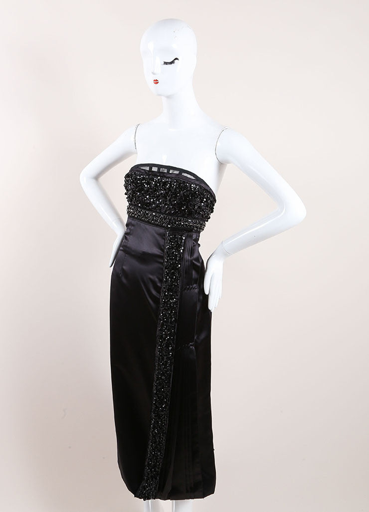 Prada Black Silk Strapless Dress Side