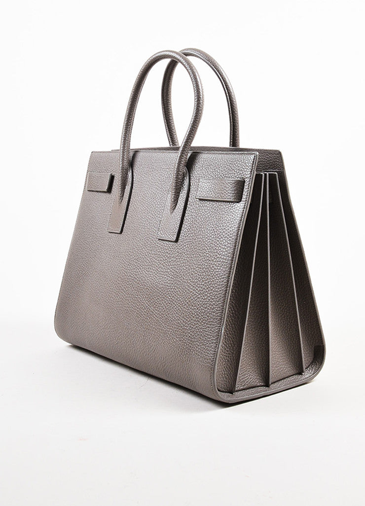 "Saint Laurent Taupe Grained Leather ""Classic Large Sac De Jour"" Tote Bag Sideview"