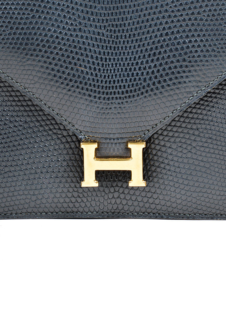 Black Hermes Lizard Leather 'H' Closure Envelope Clutch Closure