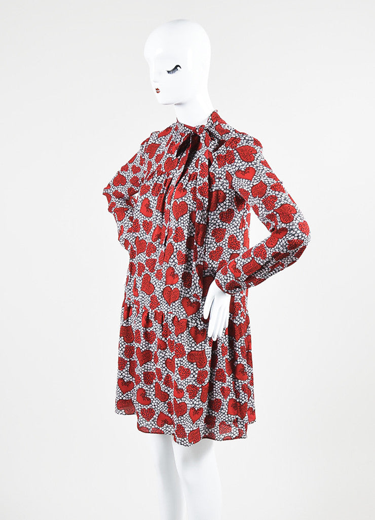 Red 	Valentino Silk Floral Heart Print Tie Long Sleeve Dress Sideview