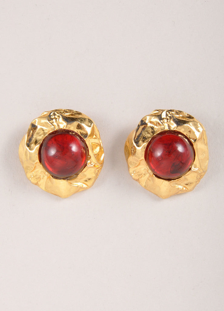 Edouard Rambaud Gold Toned and Red Round Stone Earrings Frontview