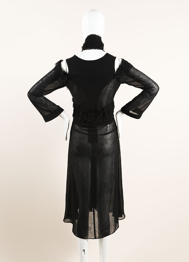 Yohji Yamamoto Black Sheer Cut Out Shoulder Ruffle Shrug Midi Dress Backview