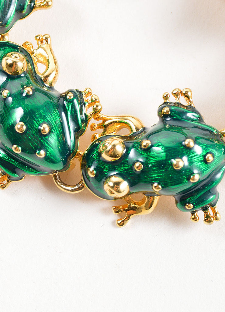 Kenneth Jay Lane Green and Gold Toned Enameled Frog Link Bracelet Detail