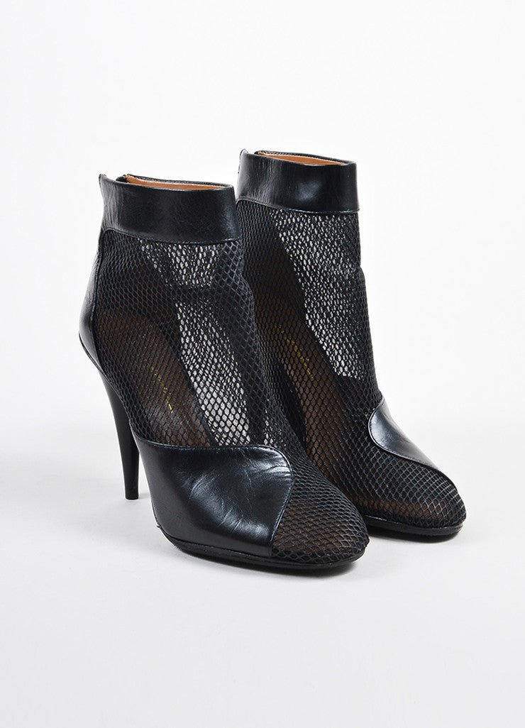 3.1 Phillip Lim Black Mesh Leather Cone Heel Ankle Boots Frontview