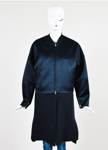 3.1 Phillip Navy Satin Double Layered Bomber Coat and Vest Frontview 2