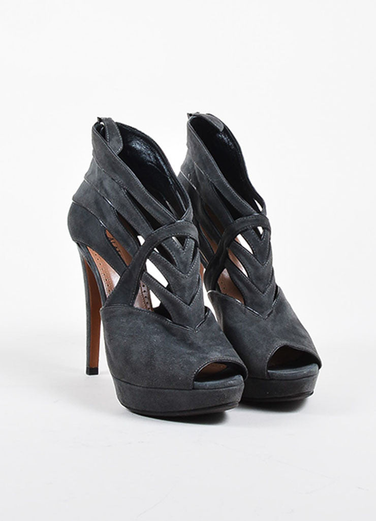 Alaia Grey Suede Cut Out Platform Peep Toe Sandal Heels Frontview