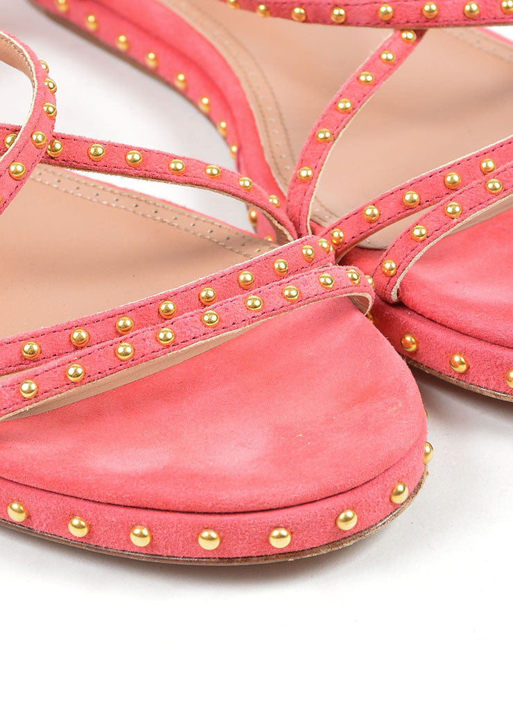 Pink Suede Gold Studded Strappy Gladiator Flat Alaia Sandals Detail