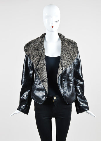 Black and Grey Armani Collezioni Snake Effect Fur Lined Jacket  Frontview