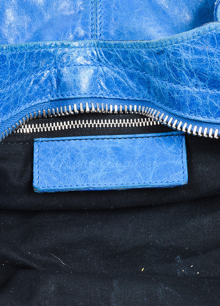 "Blue Balenciaga Leather ""Giant Part Time"" Satchel Bag Brand"
