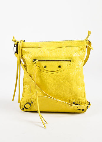 Balenciaga Yellow Leather Classic Flat Crossbody Bag Frontview